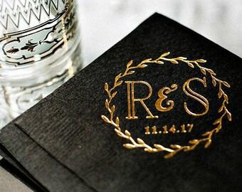 Wedding Favors, Wedding Napkins, Custom Napkins, Foil Personalized Napkins, Cocktail Napkins, Monogrammed Wedding Napkins, Bar Napkins, 1322