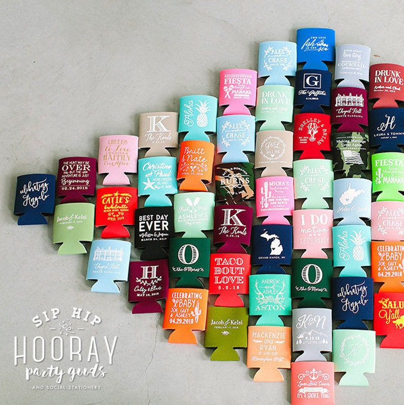 Wedding Favors Personalized Can Cooler Wedding Can Cooler image 0