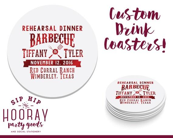 BBQ Coaster, Wedding Coaster, Rehearsal Dinner, Rehearsal Dinner Coasters, Engagement, Cookout Coasters, Coaster, Wedding BBQ, Coaster, 1652