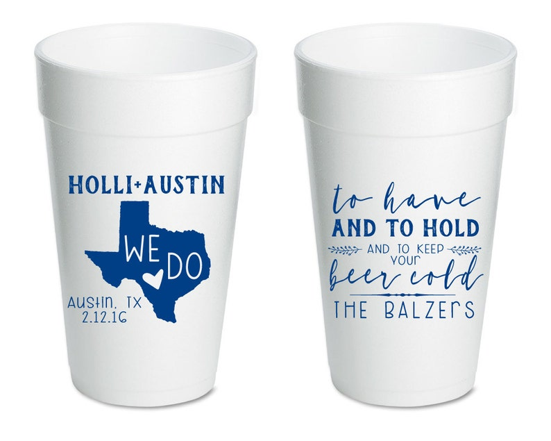 Texas Styrofoam 1630 Foam Party Cups State Wedding Cups Any State To Have and To Hold Foam Cups Wedding Cups Texas Cup