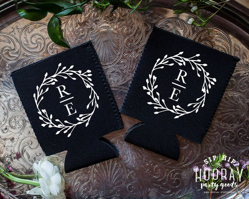 Weddings Personalized Guest Favors Stubby Holders 1852 Wedding Reception Monogrammed Wedding Favors Wedding Favors Can Coolers