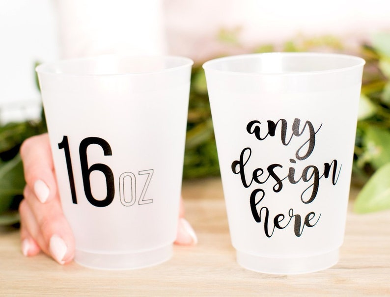 Personalized Frosted Cups 16oz Plastic Party Cups Wedding image 0