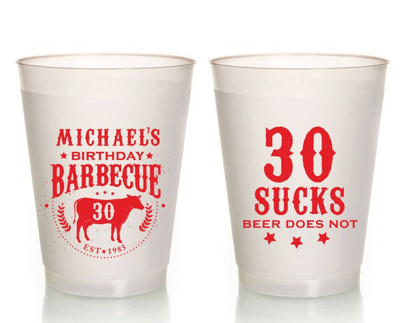 BBQ Party Cups Birthday Frosted Party Cup 30 Sucks Birthday Plastic Cups Birthday BBQ Party Cups Party Cups 1016
