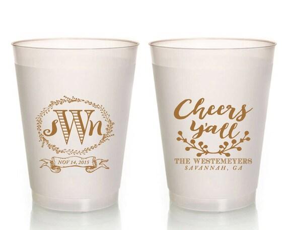 Cheers Yall Monogrammed Wedding Favors Custom Etsy