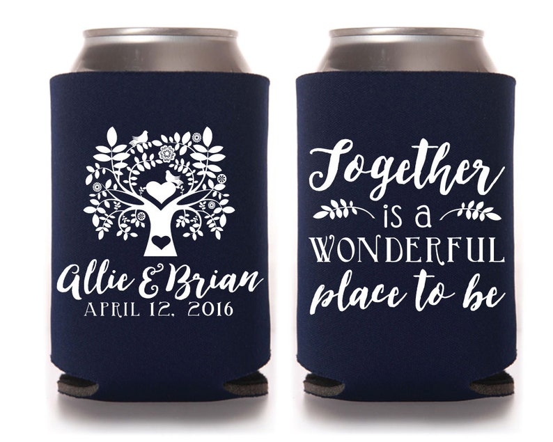 Personalized Can Cooler Wedding Favors 1149 Tree Wedding Can Cooler Can Coolers Custom Can Cooler Monogrammed Can Cooler Family Tree