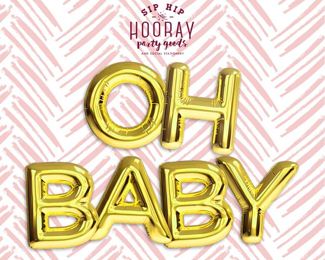 gold balloons oh baby phrase foil mylar letter balloons banners baby shower bachelorette party bridal shower