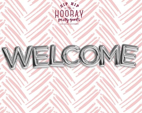 Baby Shower Letter Balloons.Silver Balloons Welcome Phrase Foil Mylar Letter Balloons