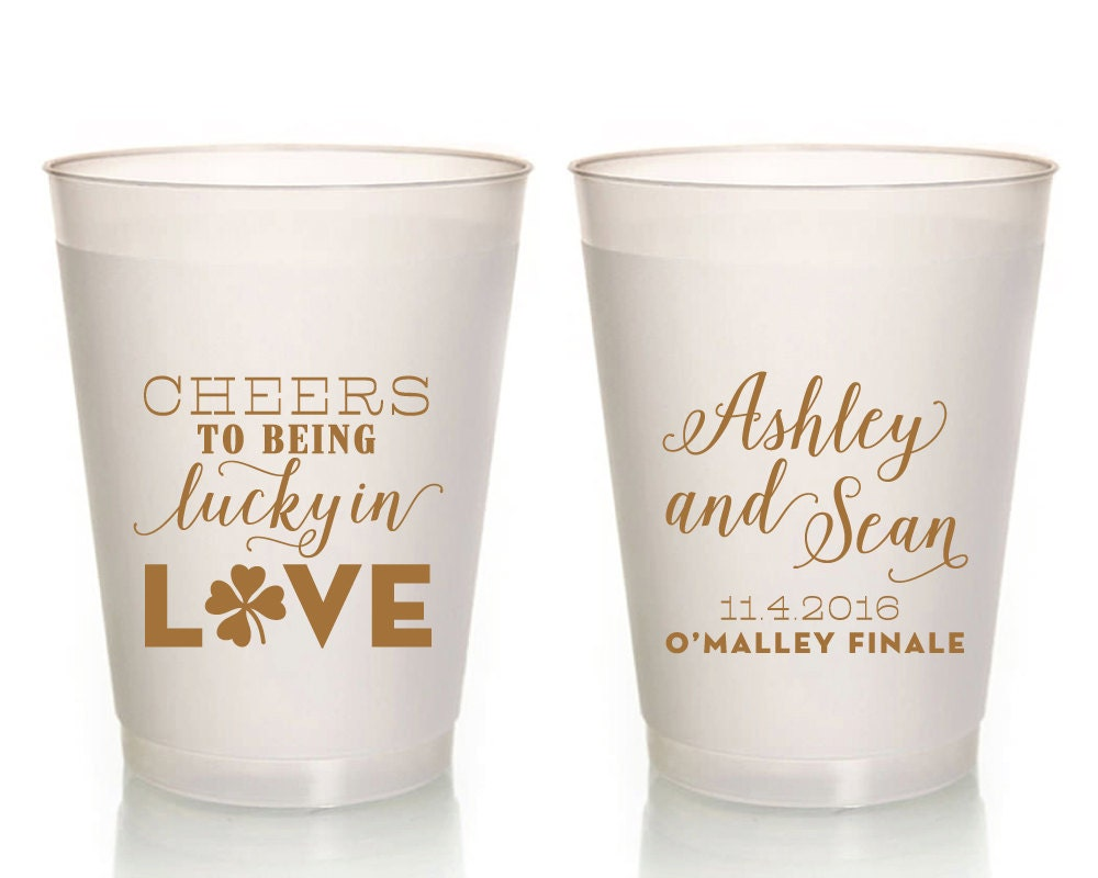 Lucky Wedding Gifts: Cheers Wedding Cups Lucky In Love Gifts And Mementos