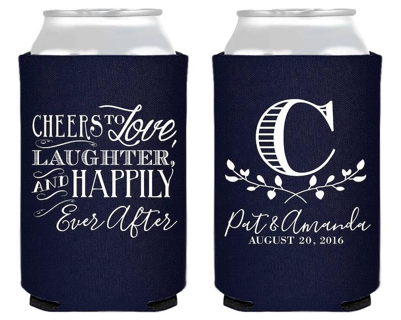 Custom Favors 1519 Cheers To Love Laughter Wedding Favors Cheers to love laughter and happily ever after Wedding Monogram Monogrammed
