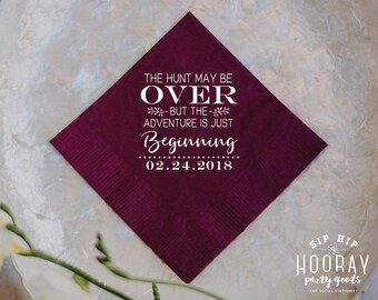 Adventure Wedding Decorations, The Hunt is Over Napkins, Cake Table Napkins, Let the Adventure Begin, Adventure Wedding Napkins, Cake, 1861