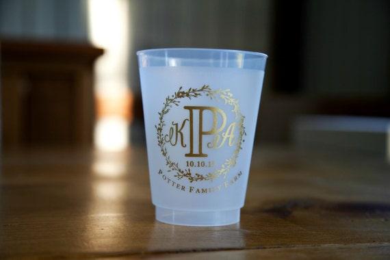 Vintage Wedding Favors Monogrammed Wedding Cups Rustic Etsy