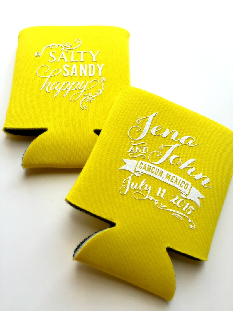 Salty Sandy Happy Wedding Favors Beach Can Cooler Beach Bridal Party Gift Mexico Wedding Favors Beach Wedding Destination Wedding Favor
