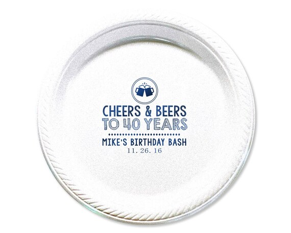 """Cheers, Plate, 40th Birthday, Party Plates, Cake Plates, 40th Birthday Party, Party Plate, Birthday Party Plate, Birthday, 7"""" Size, 1674"""
