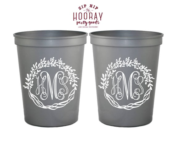 Cups For Weddings Monogrammed Wedding Cups Monogram Cups Etsy