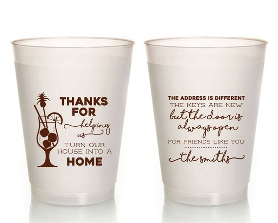 New Home Party Gifts Wedding Cups Fun Cups Custom Cups Unique Party Cups Party Favor Cups Housewarming Party Cups 1349 Party Cups