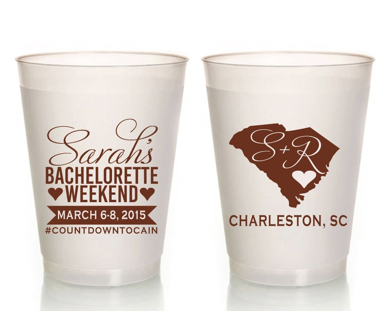 State Party Plastic Cup South Carolina Cups 1009 Bachelorette Weekend Bachelorette Party Cups Frosted Party Cup State Bachelorette Cups