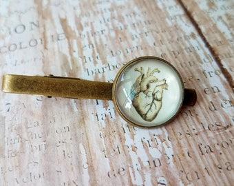 Antique Anatomy Print Tie Bar in Silver Anatomical Heart Tie Clip