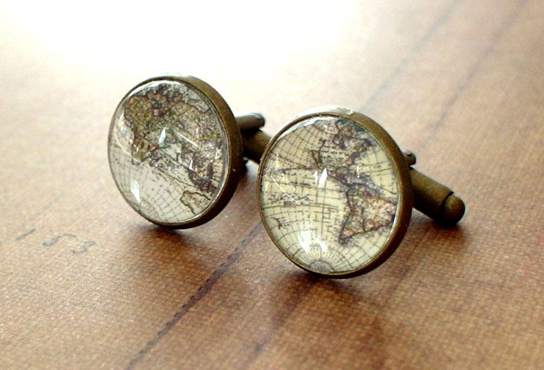 Mens Accessories 20/% OFF 16 mm Old Whole world map Cuff Links Anchor Cufflinks,Perfect Gift Idea