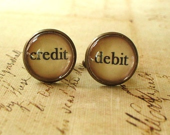 20% OFF -- 16 mm Vintage Style Debit and Credit Cuff Links ,Accounting,Mens Accessories,Perfect Gift Idea