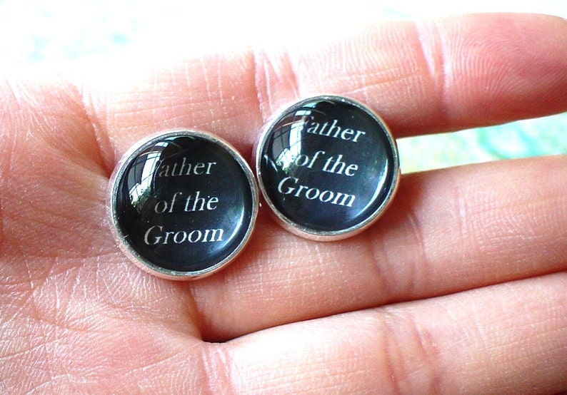 Gifts for Dad Father,Men 20/% OFF 16mm Father of the Groom Cufflinks Black Wedding Cufflinks