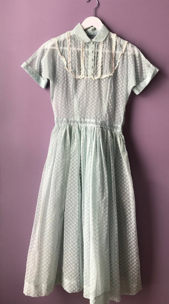 1952 baby blue sheer voile