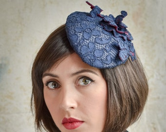 Navy lace & fuchsia pink tear drop hat with wired lace trim - Hand Blocked Cocktail Hat - Percher - Mini Beret - Millinery