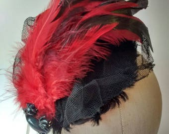 Black faux fur mini hat with red feathers black net & vintage cockerel ~ Fascinator ~ Millinery ~ races ~ Steam Punk ~ burlesque ~ gothic