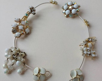 Hair Vine with vintage diamante, pearl & ivory colour beads ~ BoHo Beach Wedding ~ Bridal ~ Hair Decoration