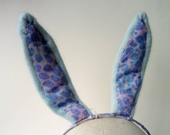 Fabric Bunny ears ~  wired rabbit ears made with recycled material ~ fancy dress dressing up ~ Festival Party Costume LARP animal ears