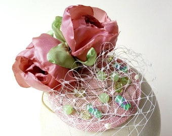Pink sinamay fascinator with handmade fabric flowers, green beads & veiling ~ Percher ~ Wedding Bridesmaid ~ Burlesque CanCan ~ Festival