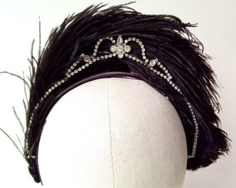 Black ostrich feather headband with vintage diamante ~ Edwardian Art Deco ~ 1920's ~ Gatsby Peaky Blinders ~ Gothic Burlesque Victorian