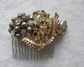 Silver + Gold Hair Comb with Brown Diamanté ~ Handmade with vintage brooches ~ Something Blue ~ Pearls ~ Grey
