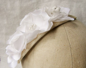 Bridal fascinator with off-white fabric flowers, beads and miniature birds - 1950's style - Quirky - Wedding