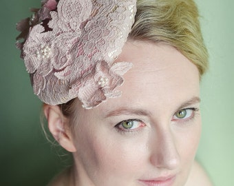 Pale blush pink lace hat with wired lace trim & pearl beads - Cocktail Hat - Percher - Mini Beret - Millinery