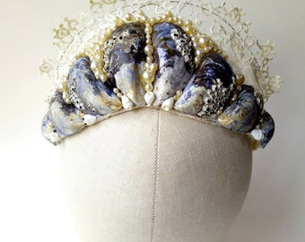Mermaid Tiara Crown with mussel shells, antique lace, tiny shells & pearl beads  ~ LARP ~ Beach Wedding ~  Fairytale Queen Nymph Sprite Sea