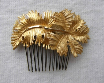 Gold Leaves Hair Comb ~ Handmade with vintage brooches ~ Woodland - Fairy - Flower Girl - Botanical - Nature