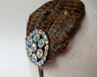 Black hair band fascinator side tiara with Woodcock feathers & vintage aura borealis diamante ~ brown + tan ~ bridesmaid ~ woodland wedding