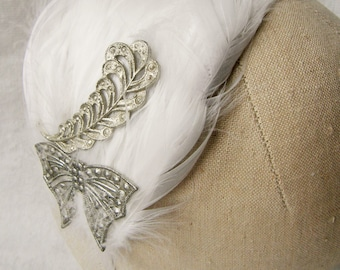 Hair band fascinator with white feathers and vintage pressed tin embelishments ~ Feather ~ Bow ~ Wedding ~ Bridal ~ 1950's