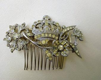 Royal themed hair comb made with vintage diamante ~ floral ~ crown ~ silver & rhinestones ~ Queen Monarch Coronation Elizabeth II Britannia