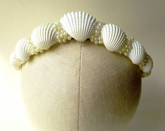 Mermaid Tiara Crown with sea shells & pearl beads  ~ LARP ~ Beach Wedding ~  Fairytale Queen Princess Sea Nymph Sprite Neptune Bridal