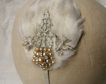 Hair band fascinator with white and speckled feathers, vintage diamante and pearl jewellery and diamante bird ~ Wedding ~ Bridal