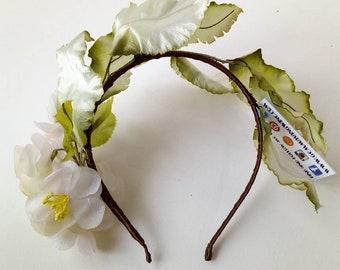Floral headdress made with vintage fabric flowers & leaves ~ Festival Beach Woodland Wedding ~ Frida Khalo Headband ~ Faery Queen Imp Elf