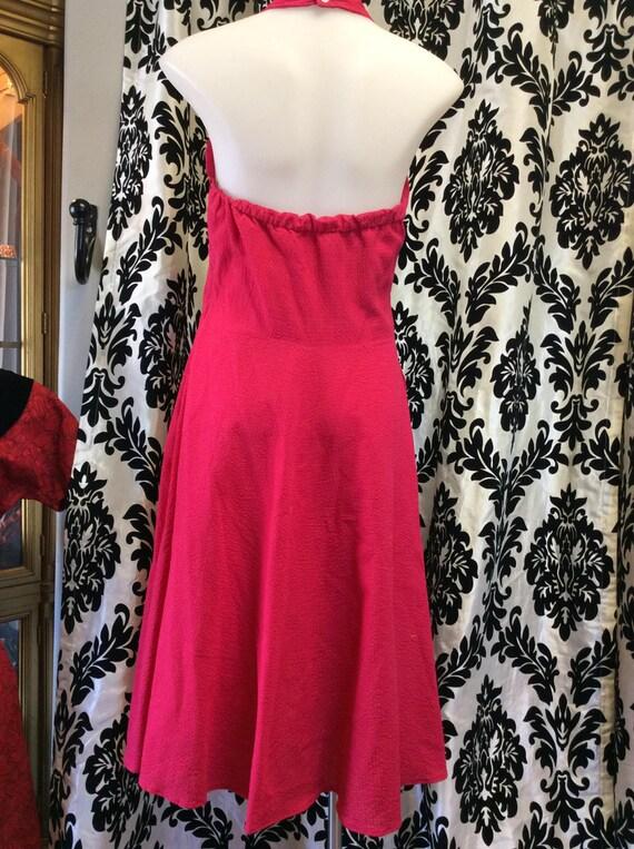 Adorable 1950's Fuschia Rockabilly Halter Dress - image 2