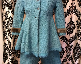 1940's Girls Teal Curly Lamb Snow Suit with Fur