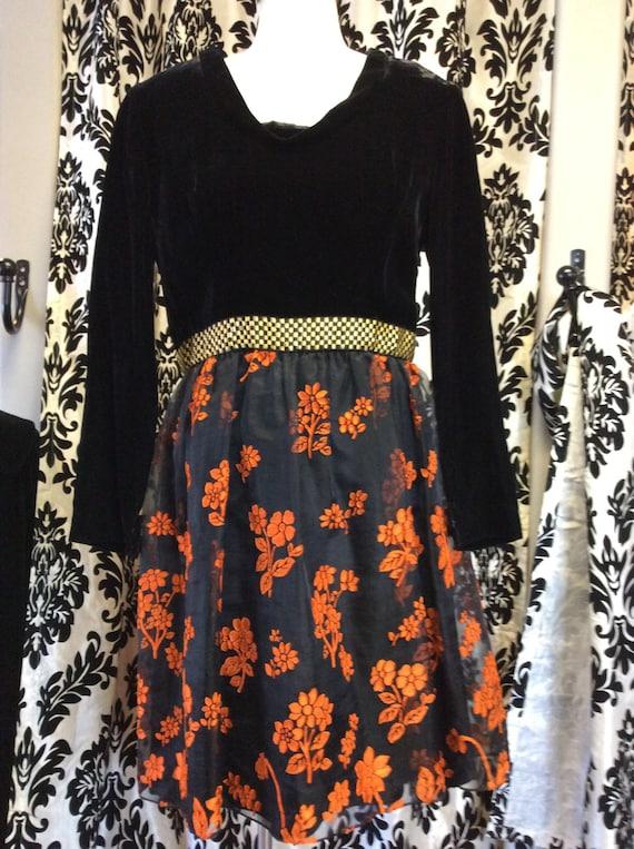 1950's  black and orange skater dress