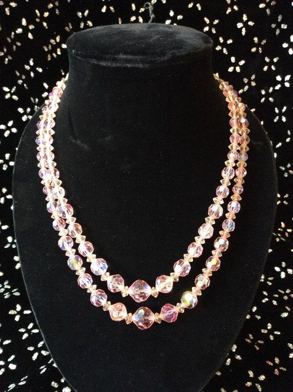 40's Pink Aurora Borealis Necklace