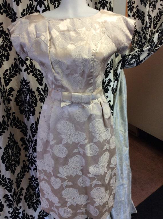 Beige & Ivory 1950's Floral Dress Set