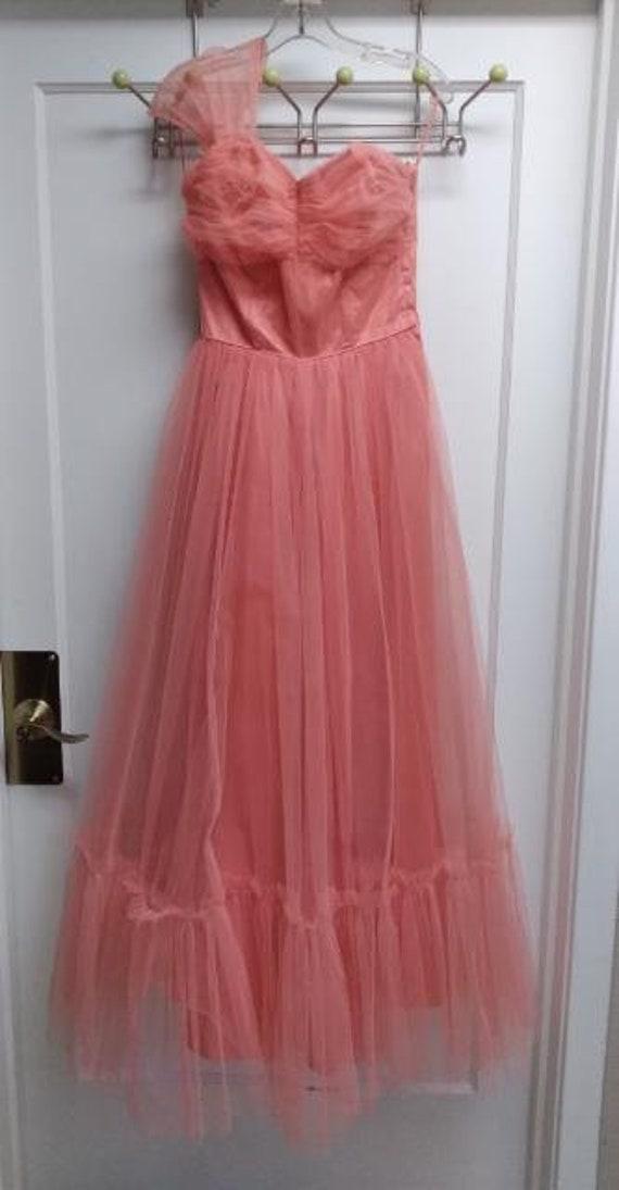 50's Salmon Tulle Dress Formal Prom-wear - image 2