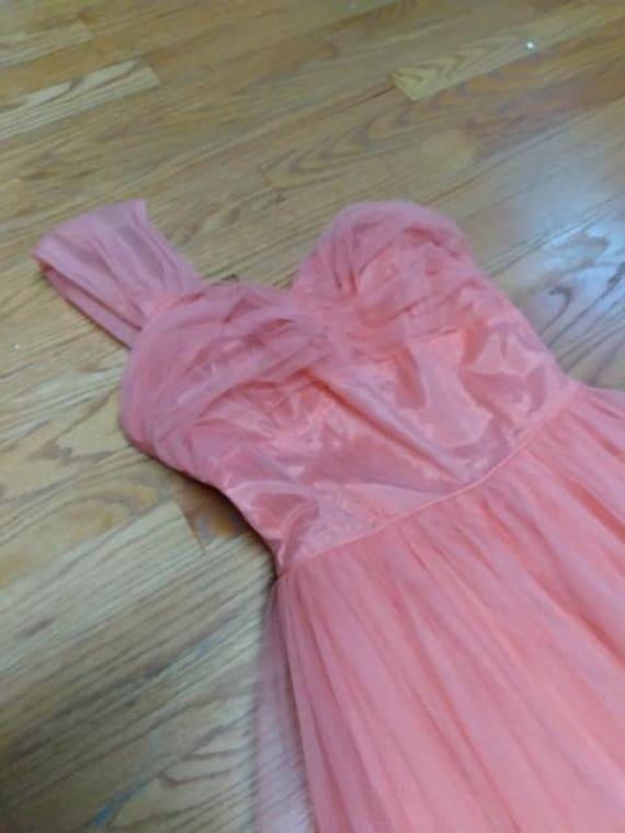 50's Salmon Tulle Dress Formal Prom-wear - image 5