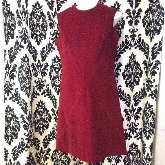 60's Burgundy Velvet Shift Dress